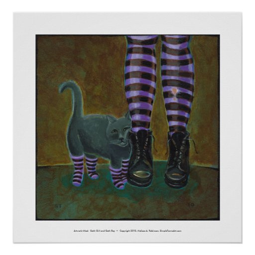 Girl cat boots striped socks fun witch goth art poster