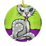 girl cat ceramic ornament