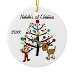 Girl, Cat, Dog 1st Christmas Customized Ornament