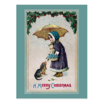 Girl, Cat & Dog Under Umbrella in Snow Vintage Postcard