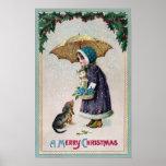 Girl, Cat & Dog Under Umbrella in Snow Vintage Poster