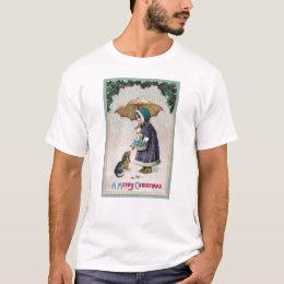 Girl, Cat & Dog Under Umbrella in Snow Vintage T-Shirt