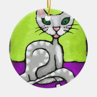 girl cat Double-Sided ceramic round christmas ornament