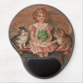 Girl Cat Kitten Flowers Birthday Gel Mouse Pad