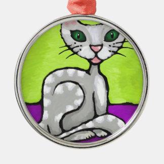 girl cat metal ornament