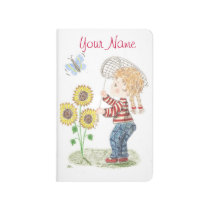 Girl catching a butterfly pocket journal