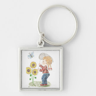 Girl catching a butterfly premium keychain