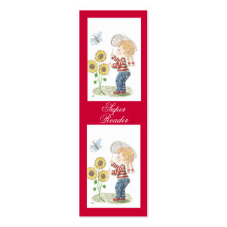 Girl catching a butterfly tiny bookmarks Double-Sided mini business cards (Pack of 20)