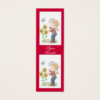 Girl catching a butterfly tiny bookmarks mini business card