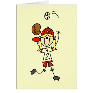 Girl Catching Baseball T-shirts and Gifts Greeting Card