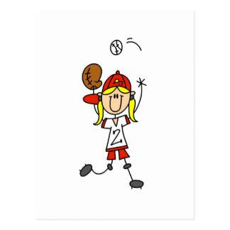 Girl Catching Baseball T-shirts and Gifts Postcard