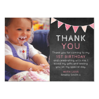 Girl chalkboard bunting birthday thank you card