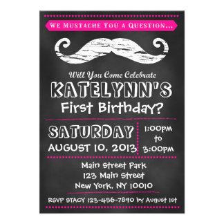 Girl Chalkboard Mustache Birthday Invitation
