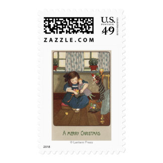 Girl Checking her Shoes Full of Goodies Postage Stamp