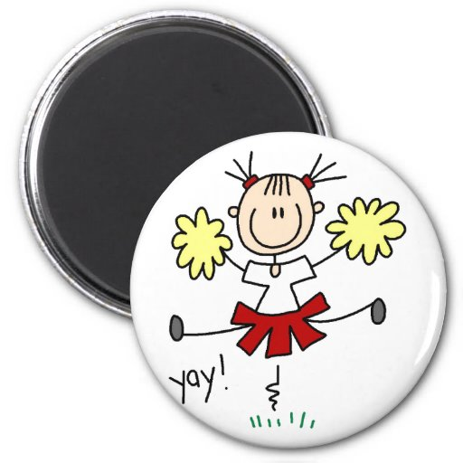 Girl Cheering Red And Gold Magnet Magnets