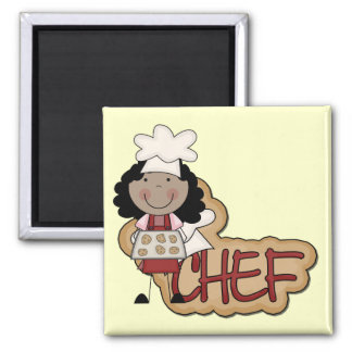 Girl Chef African American Tshirts and Gifts 2 Inch Square Magnet