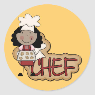 Girl Chef African American Tshirts and Gifts Classic Round Sticker