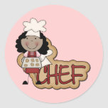 Girl Chef African American Tshirts and Gifts Round Stickers