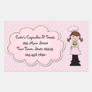 Girl Chef, Cupcake, Pink Polka Dots Rectangular Sticker