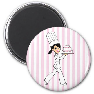 Girl Chef Print 2 Inch Round Magnet