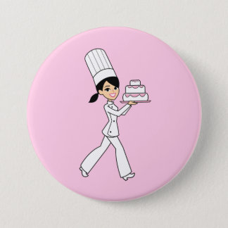 Girl Chef Print Button