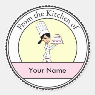 Girl Chef Print Classic Round Sticker