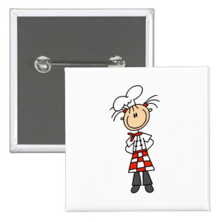 Girl Chef Stick Figure Buttons