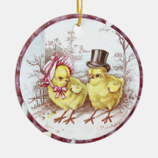 Girl Chick and Boy Chick Vintage Easter Ceramic Ornament