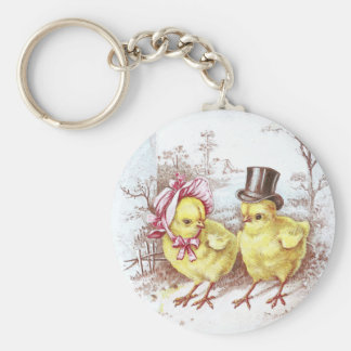 Girl Chick, Boy Chick & Easter Lilies Keychain