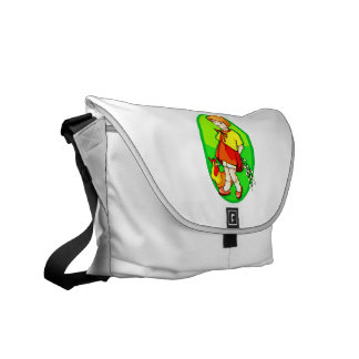 girl chicken flowers behind back green oval.png courier bag