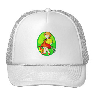 girl chicken flowers behind back green oval.png trucker hat