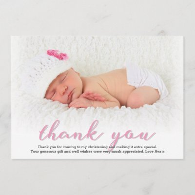 Girl Christening Baptism Thank You Card Zazzle Com