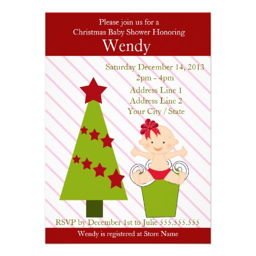 girl christmas baby shower invitation cards 5 x 7 invitation card