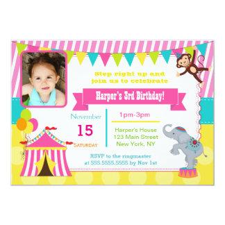 Girl Circus Carnival Photo Birthday Invitations