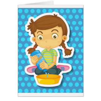 Girl cleaning greeting card