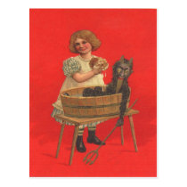 Girl Cleaning Krampus Postcard