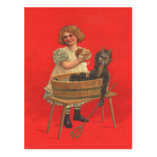 Girl Cleaning Krampus Postcard