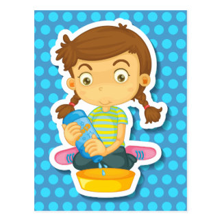 Girl cleaning postcard