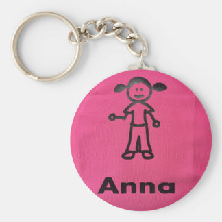 Girl Clipart w/ Child's Name Keychain