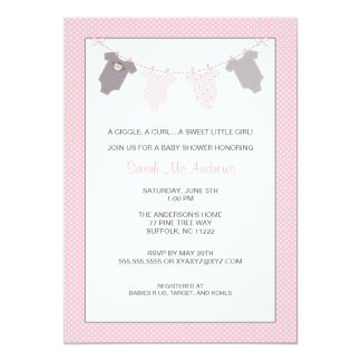 Girl Clothesline Baby Shower Invite Pink Gray