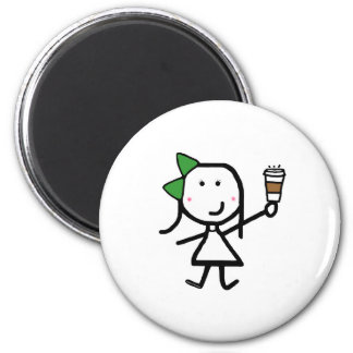 Girl & Coffee 2 Inch Round Magnet