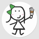 Girl & Coffee Classic Round Sticker