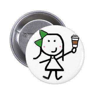 Girl & Coffee Pinback Button