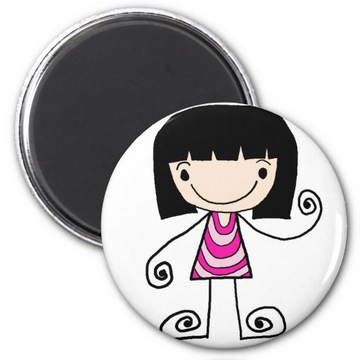 girl  collection 2 inch round magnet