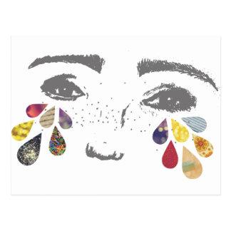 girl - color tears postcard