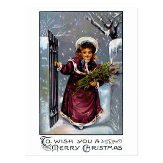 Girl Comes Through Front Gate in Winter Postcard