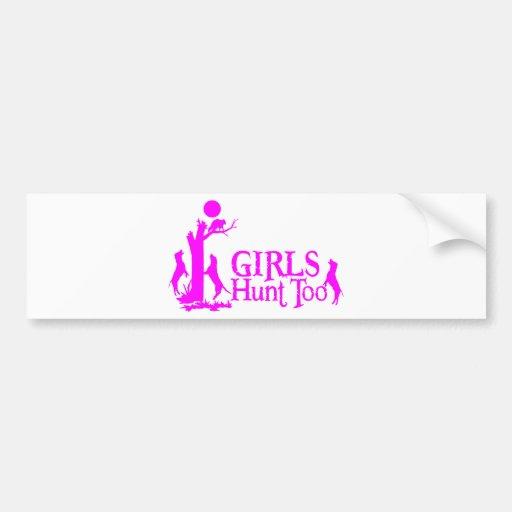 GIRL COON HUNTING CAR BUMPER STICKER