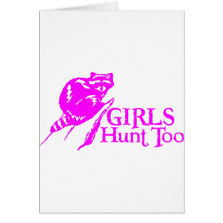 GIRL COON HUNTING GREETING CARD