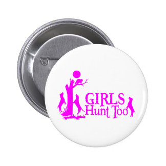 GIRL COON HUNTING PINBACK BUTTON