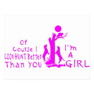GIRL COON HUNTING POSTCARD